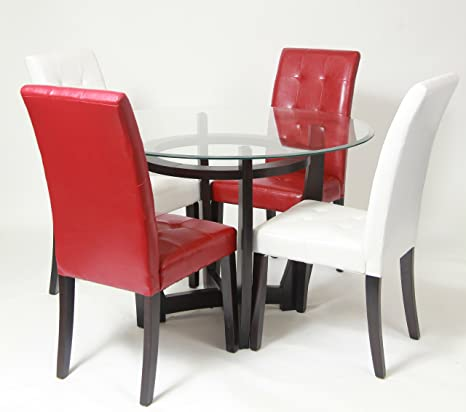 Roundhill Furniture Armor Beveled Glass Top Dining Set, Includes Table with 2 White and 2 Red Parson Chairs