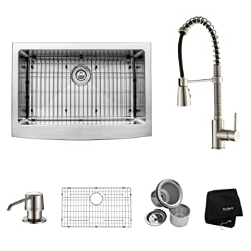 "Kraus KHF200-30-KPF1612-KSD30SS 30"" Farmhouse Single Bowl Stainless Steel Kitchen Sink with Stainless Steel Finish Kitchen Faucet and Soap Dispenser"