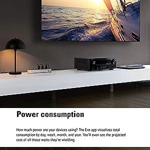 Eve Energy Strip - Smart Triple Outlet & Power Meter with surge, overvoltage, overcurrent protection, Apple HomeKit technology (Color: black silver)