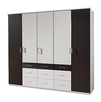 Wimex 410541 Kleiderschrank  225 / 210 / 58 cm 5-turig mit sechs großen und drei kleinen Schubkästen, alpinweiß, Absetzungen lavafarbig