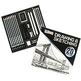 U.S. Art Supply 20 Piece Professional Hi-Quality Artist Sketch Set in Hard Storage Case - Sketch & Charcoal Pencils, Pastel, Stumps, Eraser, Sharpeners (Color: 20-Piece Sketch Set, Tamaño: 20 Piece Set)