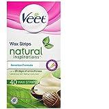 Veet Natural Inspirations, Hair Removal, Precision Wax Strips with Shea Butter, Sensitive, Legs & Body, 40 Count (Tamaño: 1 Pk (Sensitive Formula))