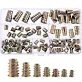 RilexAwhile 130 Pieces 7 Sizes Zinc Alloy Furniture Hex Socket Screw Inserts Threaded Insert Nuts Assortment Tool Kit for Wood Furniture
