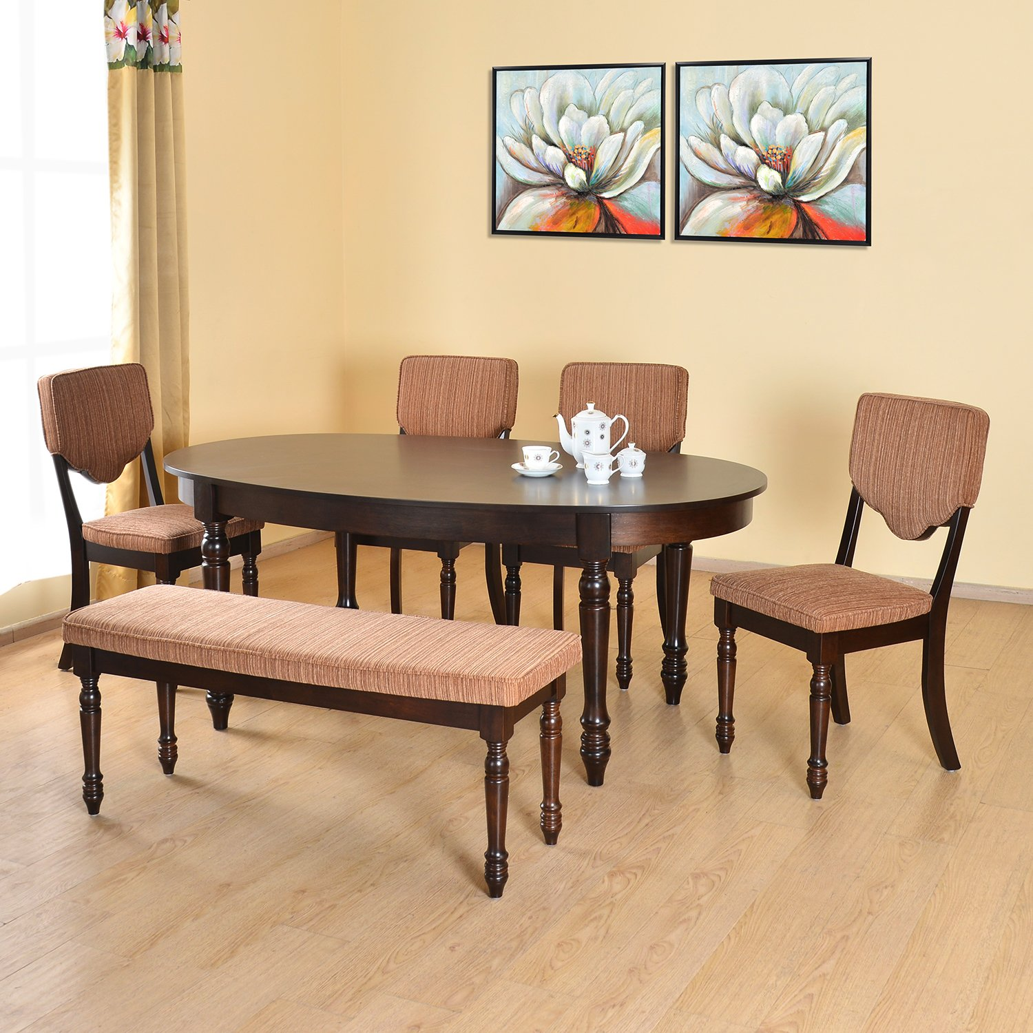 Home by nilkamal brown isabella dining set hot deals for Dining table set deals
