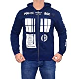 Miracle(Tm) Doctor Who Call Box Window Adult Hoodie - Mens Cotton Navy Zip Up Hoodie (Large, Navy)