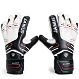 Valorsports Professional Fingesave Adult Kid Hand Palm Natural Latex Goalkeeper Gloves JA383 (Black, 8) (Color: Black, Tamaño: 8)