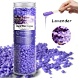 Hard Wax Beans Body Hair Removal Wax Beans Facial Armpits Hair Depilatory Beads for Wax Warmer Kit Bikini Waxing Wax Applicator Sticks for Women and Men,10.5oz with 10pcs Wax Spatulas (lavender) (Color: lavender)