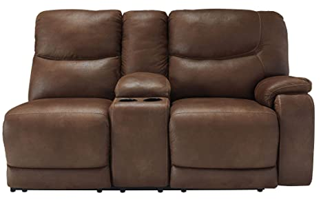 Longview Brown RAF Double Power Reclining Loveseat with Console