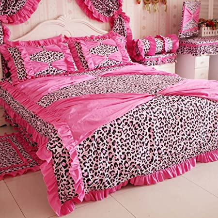 DIAIDI Home Textile,Red Pink Leopard Bedding,Princess Bow Ruffle Bedding Set,Leopard Print Bedding Set,Twin/Full/Queen/King,4Pcs Bedroom Set (Pink, 6.6ft bed)