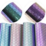 David Angie Mirror Iridescent Mermaid Scale Faux Leather Sheets 4 Pcs 8