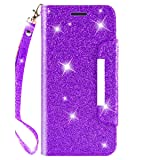iPod Touch Case 7th Generation 2019 5th / 6th, for iPod 5/6 / 7 with Screen Protector Leather Bling Glitter Wallet Kickstand Credit Card Holder Slot for Girls/Women (Purple) (Color: Purple)