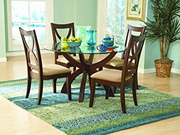Stardust 5 Piece Round Dining Table Set by Home Elegance in Espresso