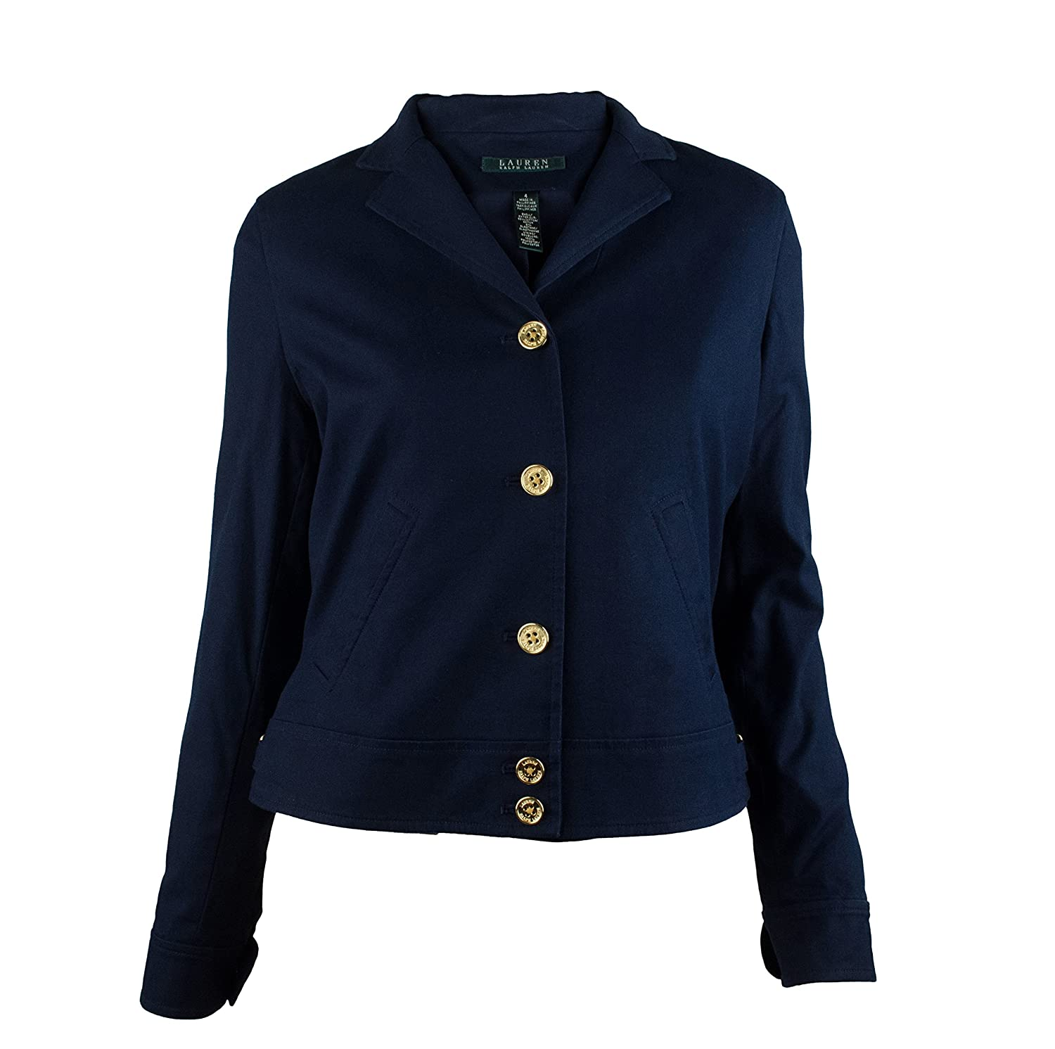Lauren Ralph Lauren 5-Button Cotton Blazer (Capri Navy) lauren ralph lauren new deep blue navy women s size 8 slim leg relaxed pants $98