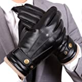 WARMEN Mens Touchscreen Texting Winter PU Faux Leather Gloves Driving Long Fleece Lining Black - Wool/Cashmere Blend Cuff (9, Black (Touchscreen)) (Color: Black (Touchscreen), Tamaño: 9)