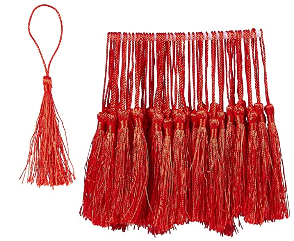 Bookmark Tassels Souvenir 0.1 x 5.4 x 0.1 inches 150-Pack Silky Floss Tassel Pendant with 2.3-inch Cord Loop Black Ideal for Handmade Craft Accessory DIY Jewelry Making Home Decoration