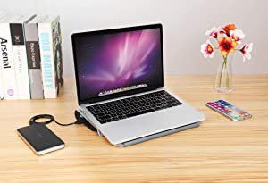 Laptop Cooling Pad, Coolertek Aluminum Laptop Stand with Silent Cooling Fan, 2 Extra USB Ports, Non-Slip Base, Adjustable Tray Height, Suit for 11-14 Inch Laptop, Notebook, MacBook, Ipad, Surface (Color: Silver-1, Tamaño: Small)