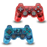 2pcs Pack Wireless PS2 Game Controller, Double Shock Gamepad for Sony PlayStation 2 (Color: Red-Blue)
