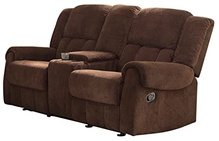 Homelegance 8400CH-2 Double Glider Reclining Love Seat with Center Console, Brown Fabric