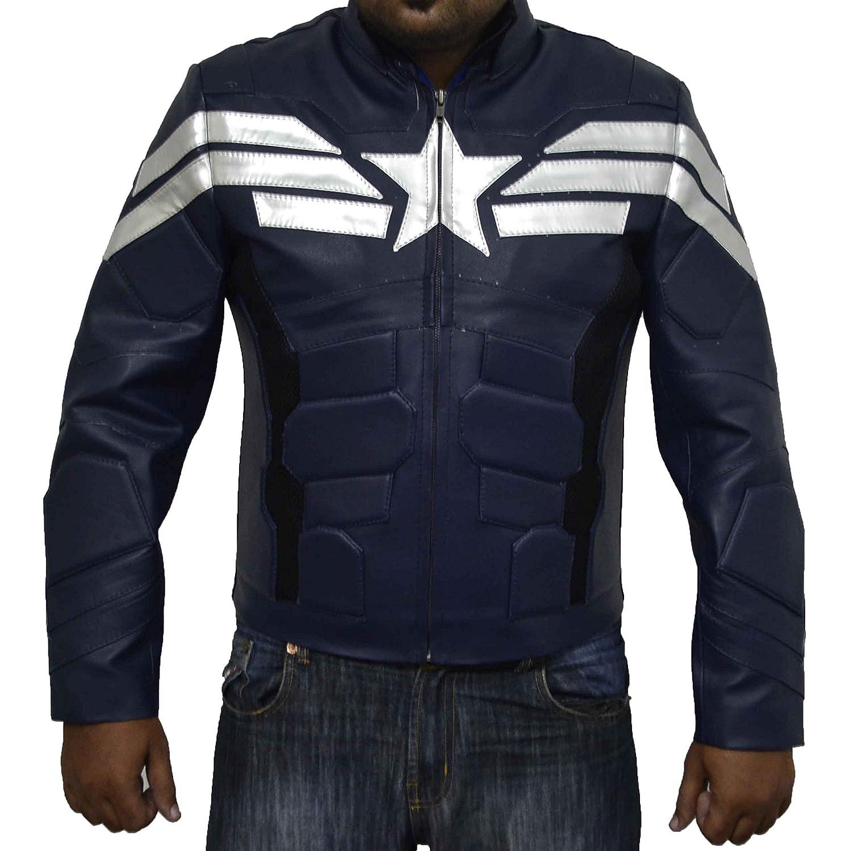 Captain America Winter Soldier dunkelblau Echt Schafe Lederjacke Bestes Weihnachtsgeschenk