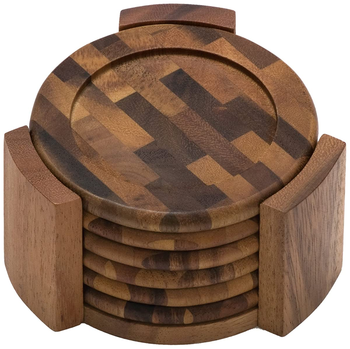 Lipper International 1134 Acacia End Grain Wood Round Coasters and Caddy, 7-Piece Set