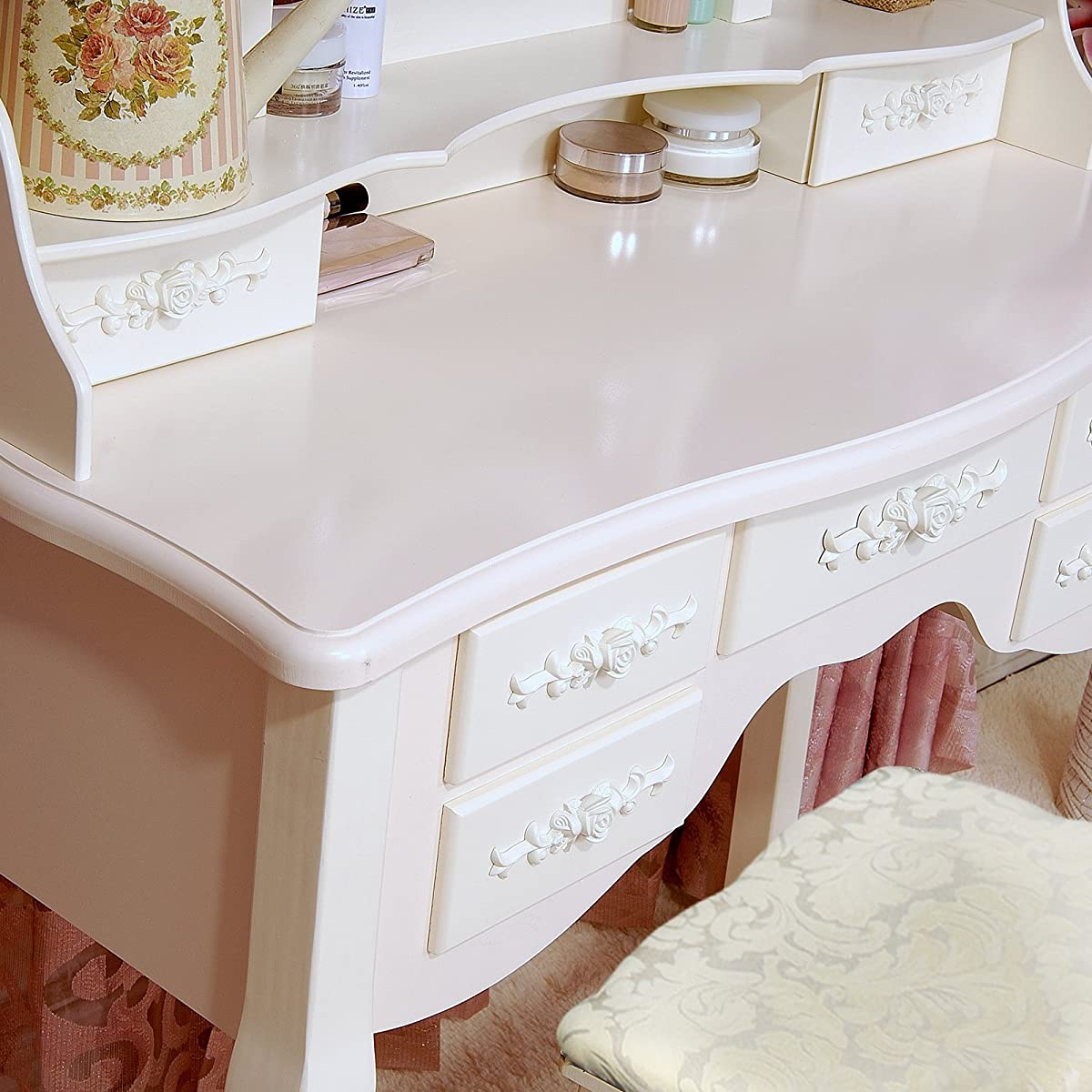 Tribesigns Wood Makeup Vanity Table Set With Mirror And