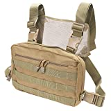 abcGoodefg Tactical Chest Rig, Molle Radio Chest Harness Holder Holster Vest for Two Way Radio Walkie Talkies (Tan) (Color: Tan)