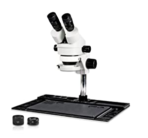 Parco Scientific PA-10EZ-IFR07-SD2 Binocular Stereo Zoom 7x-45x Microscope with Hakko Double Port Solder Station FM-203 and Micro-Soldering Kit FM-2032, 144-LED Light, Cell Phone Repair Platform