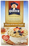 Quaker Instant Oatmeal, High Fiber, Maple Brown Sugar, 12.6-Ounce (Pack of 4)