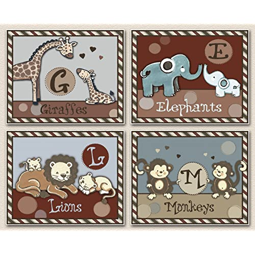 Jungle Jackson Animal Letters Nursery Art Prints (8x10 (4) Set of Four)