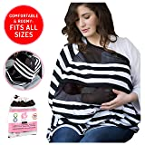 Nursing Cover For Baby Breastfeeding   Canopy Cover Up For Babies Boy and Girl   Soft Stretchy Infant Nursing Covers   Multi Use Infinity Scarf (Color: Black)