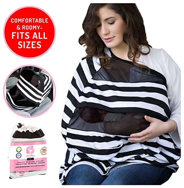 e2c237983a5 Nursing Cover For Baby Breastfeeding   Canopy Cover Up For Babies Boy and  Girl   Soft Stretchy Infant Nursing Covers   Multi Use Infinity Scarf ...