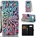 Galaxy Note 8 Case,SAVYOU 3D Pattern PU Leather Flip Wallet Case Stand Cover with Wrist Strap Card Slot Design for Samsung Galaxy Note 8 (Color: Flower)
