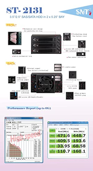 "EZDIY 3 Bay Hot Swap Mobile Rack for 2.5"" or 3.5"" SSD/HDD, Internal SATA Hard Drive Backplane Enclosure, Support SATA I/II/III & SAS I/II 6Gbps and [Optimized for SSD] (Color: 2*5.25 3BAY SATA/SAS Mobile Rack)"