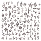 KeyZone Wholesale 100 Pieces Silver Plated Mixed Sea Animals Charms Pendants DIY for Jewelry Making and Crafting (Color: Sea Animals)