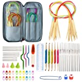 Akacraft Circular Knitting Needles kit, 18 Sizes Bamboo Circular Needles, Including Ergonomic Crochet Hooks and All Accessories in Portable Case Home DIY Handmade Tools (Tamaño: Circular Needles)