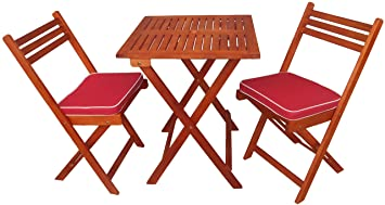 Outdoor Basics Eucalyptus Foldable 3 Piece Square Bistro Set with Chair Cushions, Natural Wood Finish