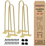 Interesthing Home Hairpin Legs for Coffee and End Tables, Chairs and Rubber Floor Protectors, 16 Inches, Gold (Color: Gold, Tamaño: 16 Inch)