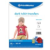 "Printworks Dark T-Shirt Transfers for Inkjet Printers, For Use on Dark and Light/White Fabrics, Photo Quality Prints, 20 Sheets 8 ½"" x 11"" (00545) (Color: Dark, Tamaño: 20 Sheets)"