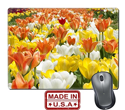 Field of colorful tulips in Haymarket Virginia, mouse pad