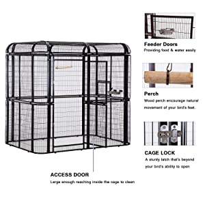 wonline Large Heavy Duty Bird Cage, with Top Covers Cockatiel Macare Parakeets Finch Aviary Double Doors with Perch (Color: Black Cage & Red Cover)