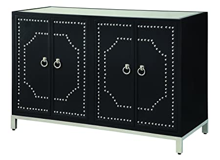 Crestview Collection CVFZR349 Roxbury Nailhead Black Sideboard