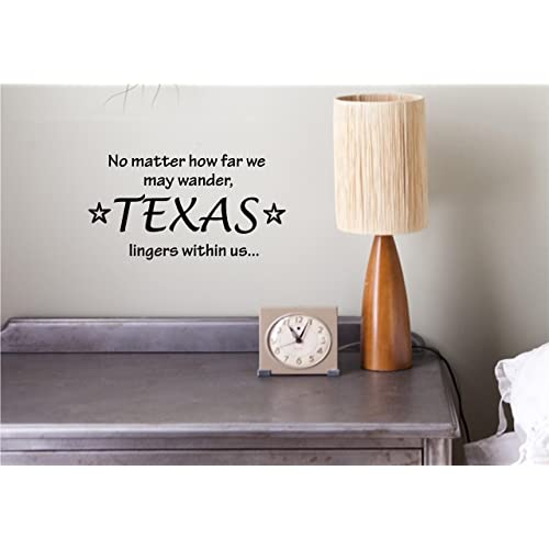 No matter how far we may wander TEXAS lingers within us...Vinyl wall art Inspirational quotes and saying home decor decal sticker