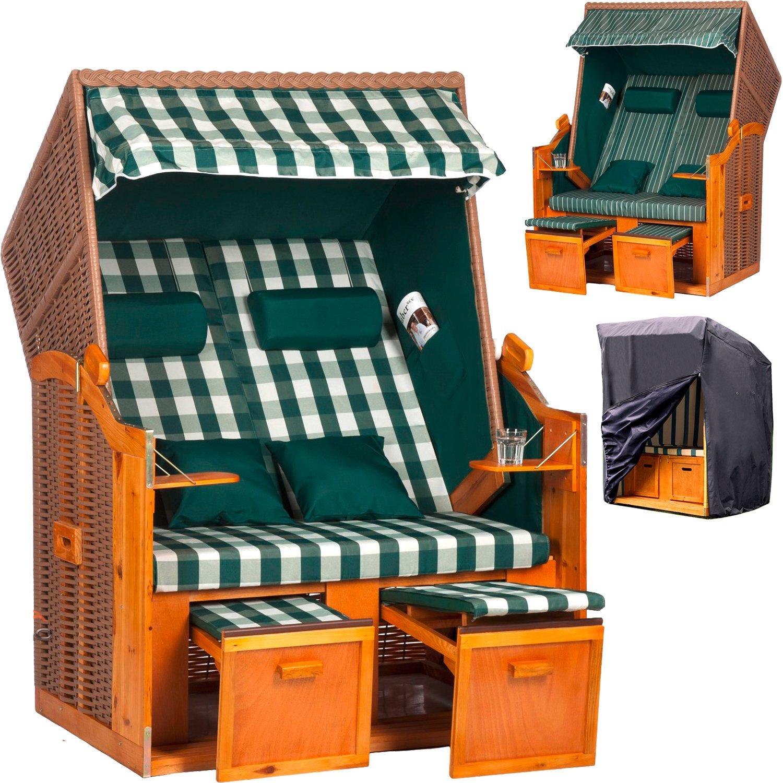 2-Sitzer Strandkorb 'Ostsee de Luxe' Grün/Weiß mit Wechselbezug + GRATIS Premium Schutzhülle gegen Regen und Schmutz