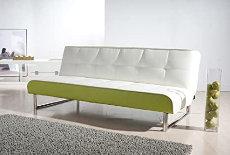 Seattle Leather Convertible Sofa Color: White and Green