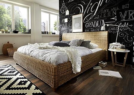 SAM® Rattanbett Ngan 9134, 140 x 200 cm, in dust, Bett in naturlichem Look in ausgefallenem Design, angenehmer Liegekomfort, widerstandsfähige Oberfläche