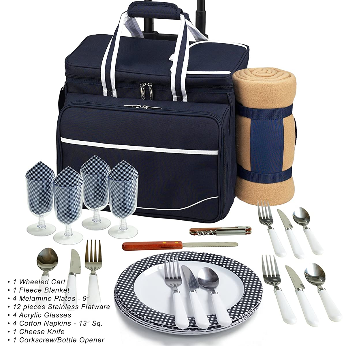 Picnic at Ascot Equipped Picnic Cooler On Wheels With Blanket, Navy/White With Gingham