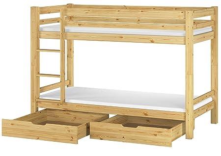Letto a castello 90x200 in Pino con assi di legno, materassi e due cassetti 60.09-09 M S2