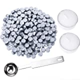 Hestya 230 Pieces Octagon Sealing Wax Beads Sticks with 2 Pieces Tea Candles and 1 Piece Wax Melting Spoon for Wax Stamp Sealing (Silver) (Color: Silver)