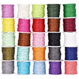 Mandala Crafts 1mm 109 Yards Jewelry Making Crafting Beading Macramé Waxed Cotton Cord Thread (25 Assorted Colors) (Color: 25 Assorted Colors)