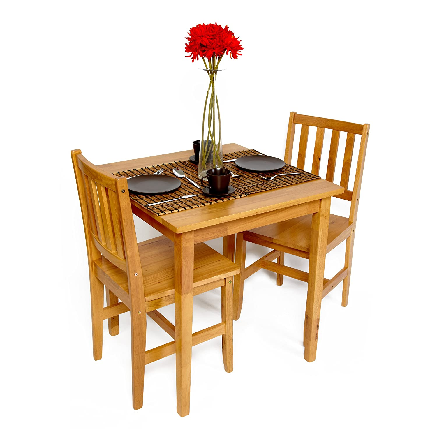 Table and chairs set dining bistro small cafe tables wood for Small dining set with bench